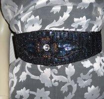 Vintage breiter Taillengürtel Pailetten Perlen schwarz bunt Gummizug 34 36 XS S