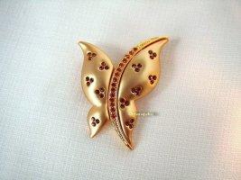 Vintage Brosche Butterfly Rhinestones vergoldet