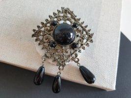 Vintage Brosche Verzierungen Schwarze Perlen Edel Schmuck