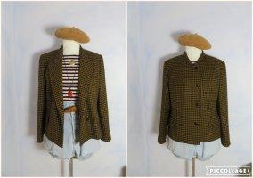 Vintage Burberry-Stil Tweed Blazer - 100% Wolle Jacke - Cognac Schwarz Hahnentrittmuster - Boyfriend Blazer
