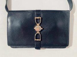 Vintage CELINE Handtasche mit drei Fächern aus schwarzem Leder