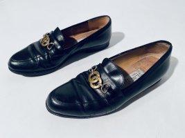 Vintage Celiné Loafers - schwarzes Leder mit Logo-Detail - Gr.37