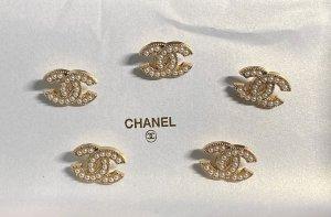 Chanel Bouton blanc-doré métal
