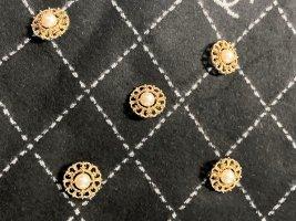 Chanel Botón blanco-color oro metal