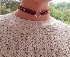 Vintage Chocker Halskette Stickerei Handarbeit Schwarz Rot Herz Blumen ungetragen