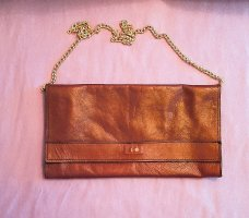 Vintage Clutch aus echtem Leder, rot/braun