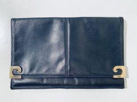 Vintage Clutch Flap Bag aus dunkelblauem Leder