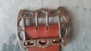 Vintage Cognac Metal und Leder Gürtel in Größe 90