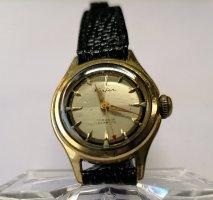 Vintage Montre avec bracelet en cuir noir-doré