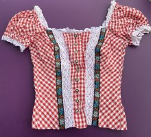 Blusa folclórica rojo neón-blanco