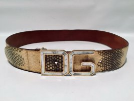 Vintage Dolce & Gabbana D&G Gürtel Schlangenleder mit Perlmutt-Logo-Schnalle