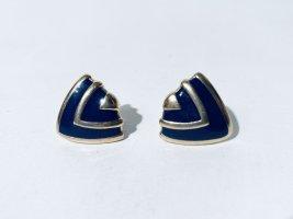 Vintage dunkelblaues Emaille und Gold Ohrclips 50er Jahre