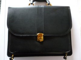 Briefcase black-gold-colored leather