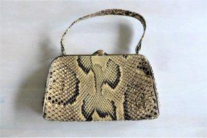 Vintage Gatsby 20er 30er 40er 50er Tasche Leder Schlange beige schwarz gold