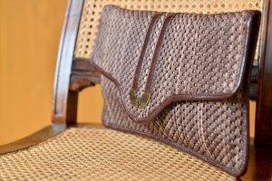 Vintage GEPE Clutch Unterarmtasche Naturfaser 80er Abendtasche Business