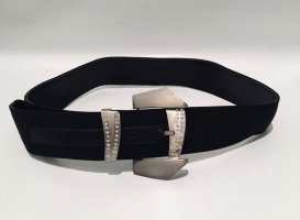 Gianni Versace Leather Belt black-silver-colored leather