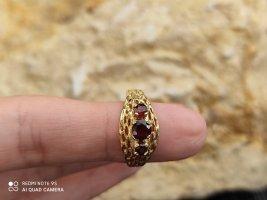 Vintage Anello d'oro oro-marrone-rosso