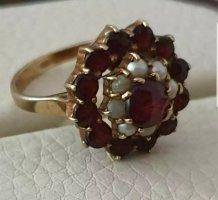 Vintage Goldring 333 mit Perlen und böhmischen Granatsteinen 4gr