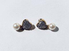 Vintage Grossé Ohrringe in Herzform mit Perle und Strass