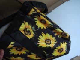 Vintage - Große Standtasche schwarz mit Sonnenblumen  - Tasche Shopper Bac - 90er Jahre
