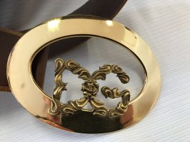 Dolce & Gabbana Cinturón de cuero marrón-color oro
