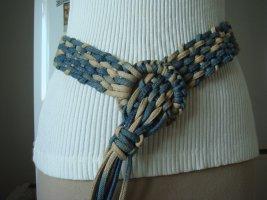 Vintage Pleciony pasek jasnoniebieski-złoto Bawełna