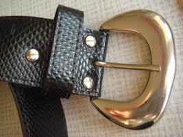 Vintage Cinturón de cuero de imitación marrón-negro tejido mezclado