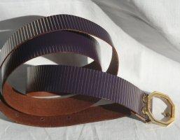 Vintage Cinturón de cuero de imitación violeta amarronado-amarillo oscuro