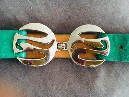 Vintage Gürtel, Metallschnalle, verstellbarer Gürtel, grün,