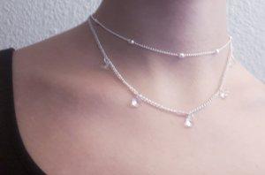 Vintage Halskette Chocker in Silberne Farbe