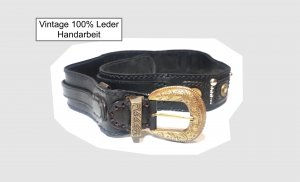 Vintage Handarbeit Gürtel 100% Echtleder Unikat Gr. 85 Sunbelt