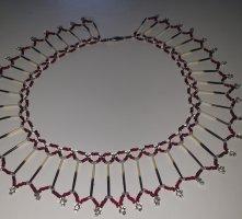 alternative vintage soft Necklace oatmeal-dark red