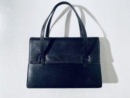 Vintage Handtasche aus schwarzem Leder mit Geldbörse