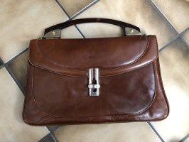 Vintage Handtasche Braun Echtleder Henkeltasche 3 Fächer - Versandkostenfrei