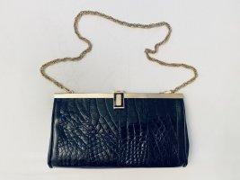Vintage Handtasche Kroko schwarzes Leder mit Kettenhenkel