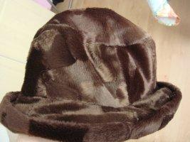 Vintage Miękki kapelusz z szerokim opuszczonym rondem bordo-czerwony neonowy