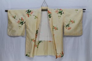 Kimono blanc-rose chair soie