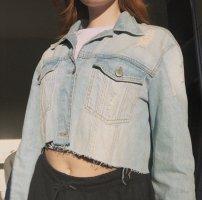 Vintage Veste en jean blanc-bleu azur