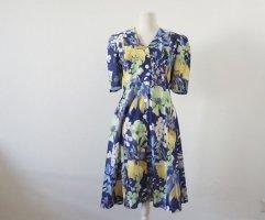 Vintage Kleid geblümte bunt blau gelb M