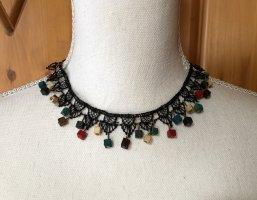 Vintage Kurze Halskette Halsschmuck Boho Hippie Ethno Spitze Holz perlen gothic