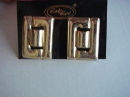 Vintage - Lady Lord lOhrringe goldfarben Metall schwer Ohrclips - Modeschmuck 90er Jahre