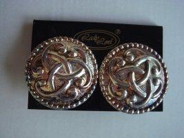 Vintage - Lady Lord Ohrringe silbrig Metal   groß Ohrclips -  Modeschmuck 90er Jahre