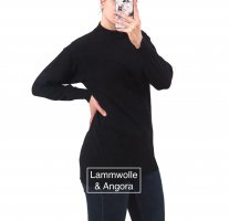Vintage Lammwolle/Ang0ra Turtleneck Pullover Made in Italy Gr. M schwarz