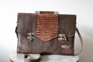 Borsa pc cognac-marrone-nero Pelle
