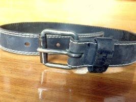 Vintage Ledergürtel mit Metallschnalle Anthrazit