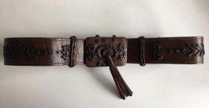Vintage Ledergürtel mit toller Zierschnalle mit Troddel