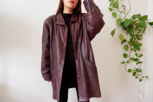 Polar Leather Coat blackberry-red leather