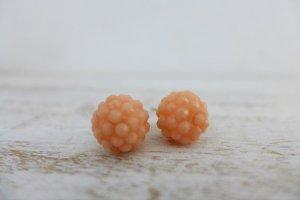 Vintage Look Ohrringe Ohrstecker Kugel Perlen nude rose lachs 40er 50er 30er