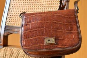 Vintage MARC CHANTAL Saddlebag Krokooptik Leder Tasche Schultertasche