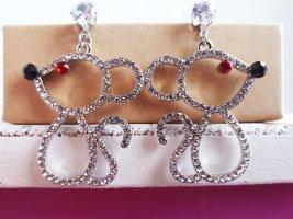 Vintage Maus Silberne Ohrringe mit Zirkone 925 Sterling Silber Pin ungetragen